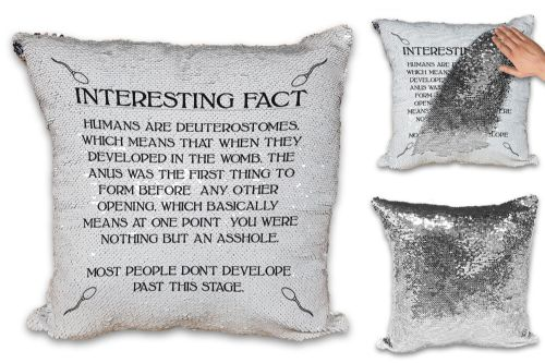 Interesting Fact Humans Are Deuterostomes Sequin Reveal Magic Cushion Cover (1)